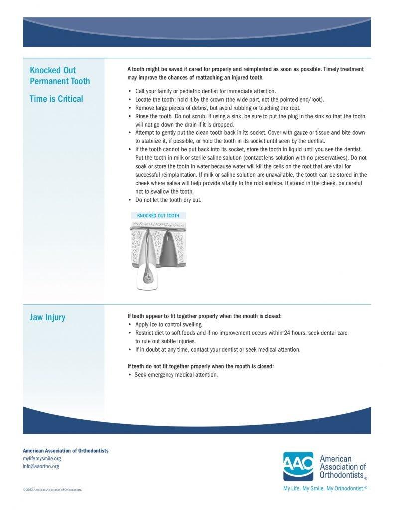 dental emergencies: knocked out teeth or jaw injury